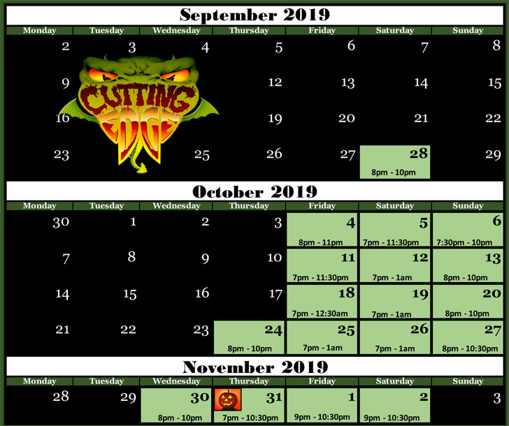 Cutting Edge Haunted House in Fort Worth, Texas 2019 Calendar