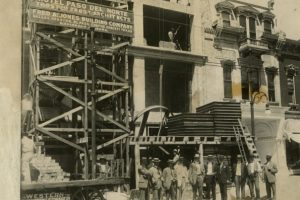 Building the haunted Camino Real. Formerly the Hotel Paso Del Norte. Erected in 1912.