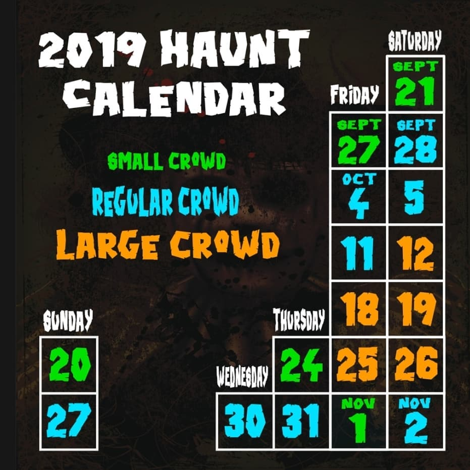 Haunted Forest at Panic Point in Youngsville, NC 2019 Calendar