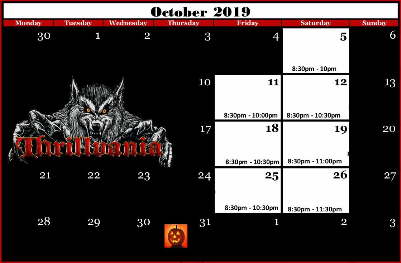 Thrillvania Haunted House 2019 Calendar