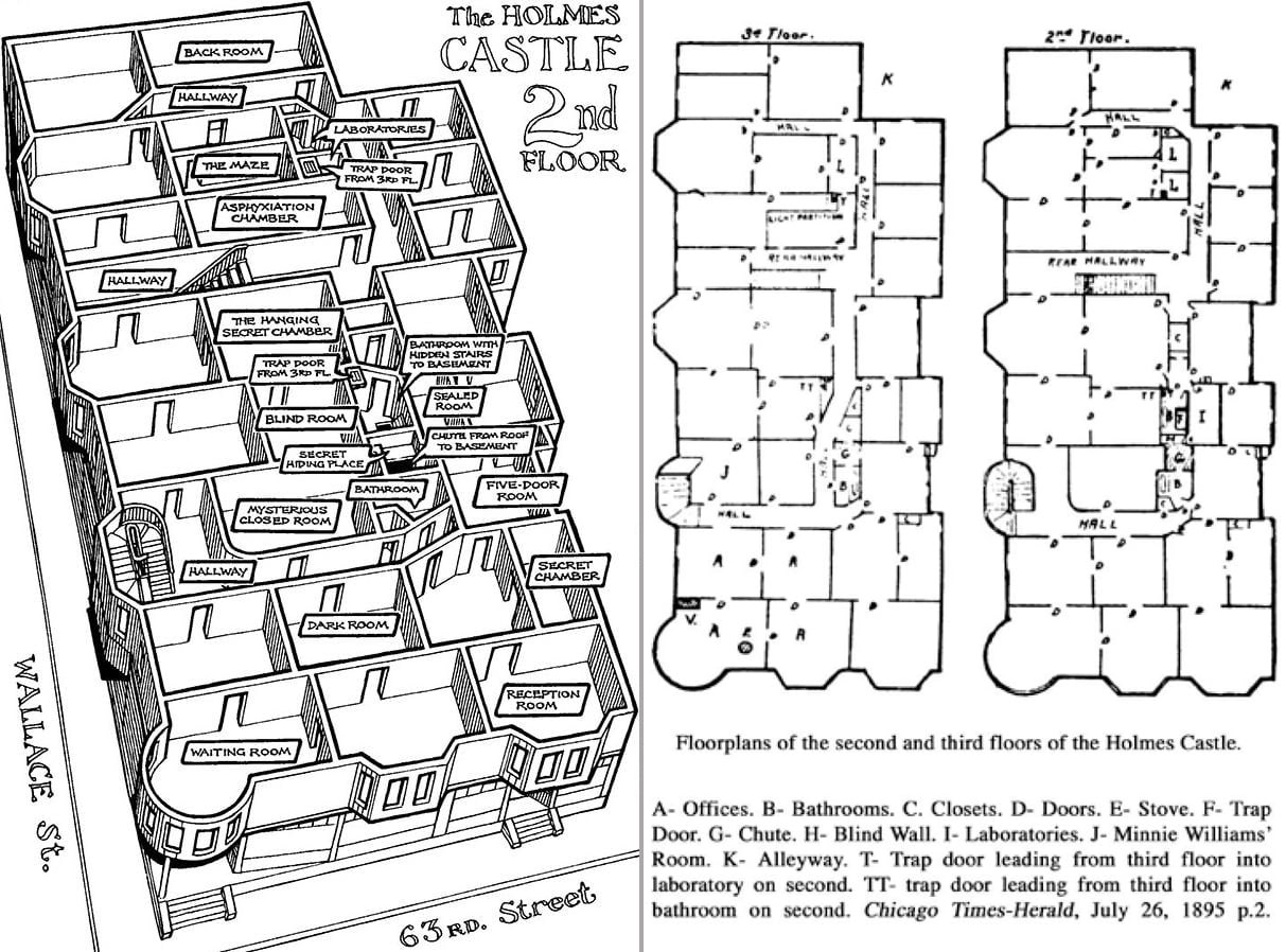 The h h holmes murder castle frightfind for Chateau blueprints