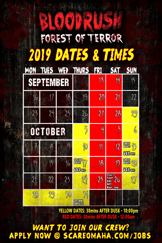 Bloodrush 2019 Calendar