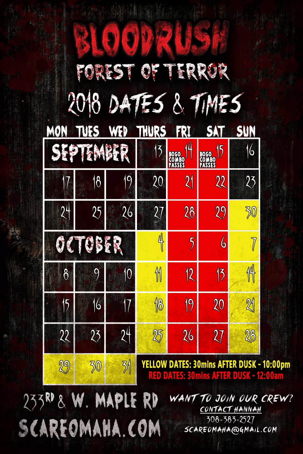 Bloodrush haunted house in Elkhorn, Nebraska Open Dates