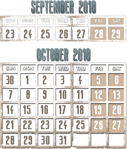 2018 Haunted Hollow Calendar and Times