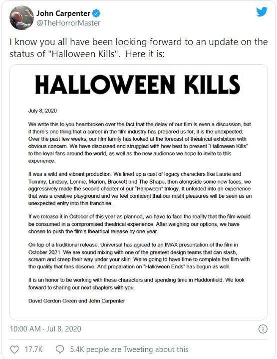 Halloween Kills Tweet